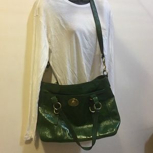 COACH green patent leather crossbody satchel